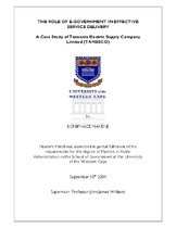 The role of e-government in effective service delivery: a case study