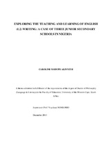 Exploring the Teaching and Learning of English (L2) Writing